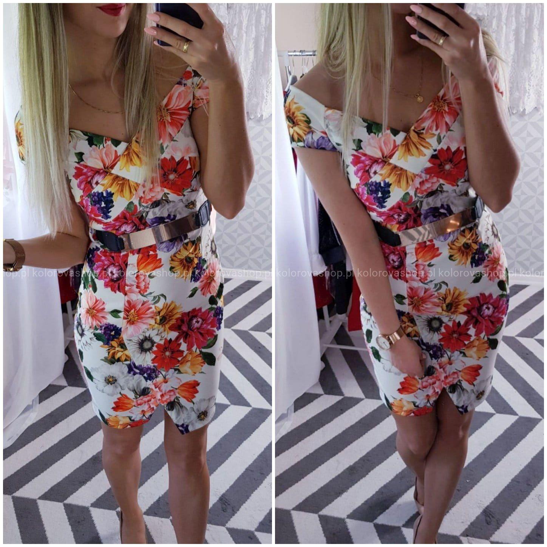 Sukienka Biala W Kwiaty Odkryte Ramiona Z Paskiem Fashion Dresses Off Shoulder Dress
