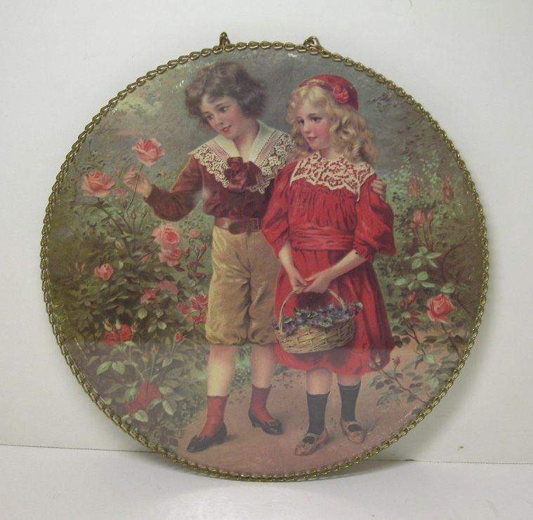 Antique Victorian CHIMNEY FLUE COVER Children, Floral