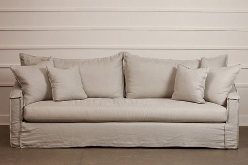Slip Covered Sofa With Two Back Cushions Over Bench Seat Inside Out Sching And Cushion