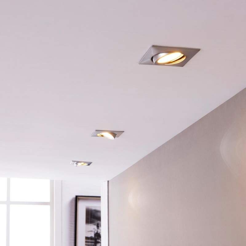 Chrom Einbaulampen Mit Leds Eckig 3er Set Einbaulampen Lampen Einbauleuchten