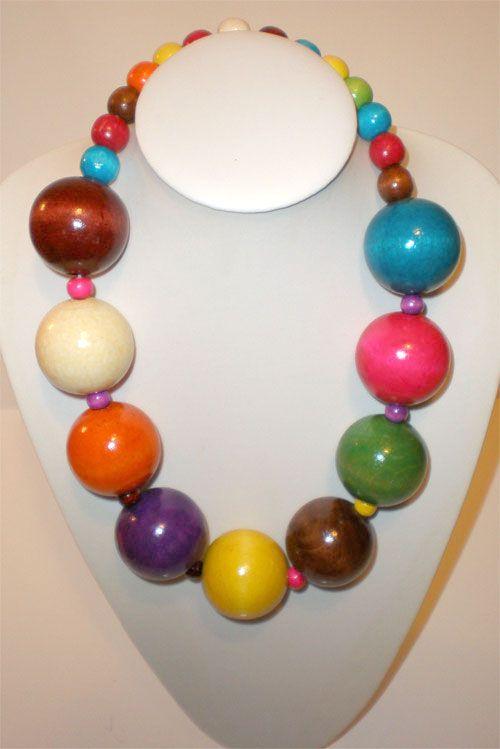 Collier grosse perle bois