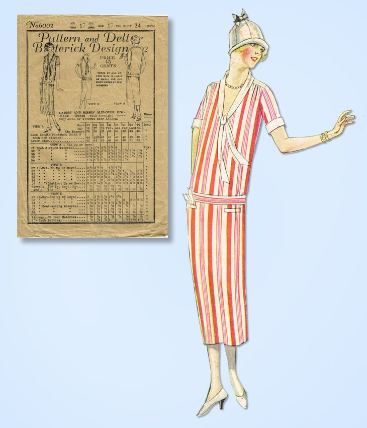 1920s Vintage Butterick Sewing Pattern 6002 Misses Slip Over Flapper Dress 34B #Butterick #FlapperFrock