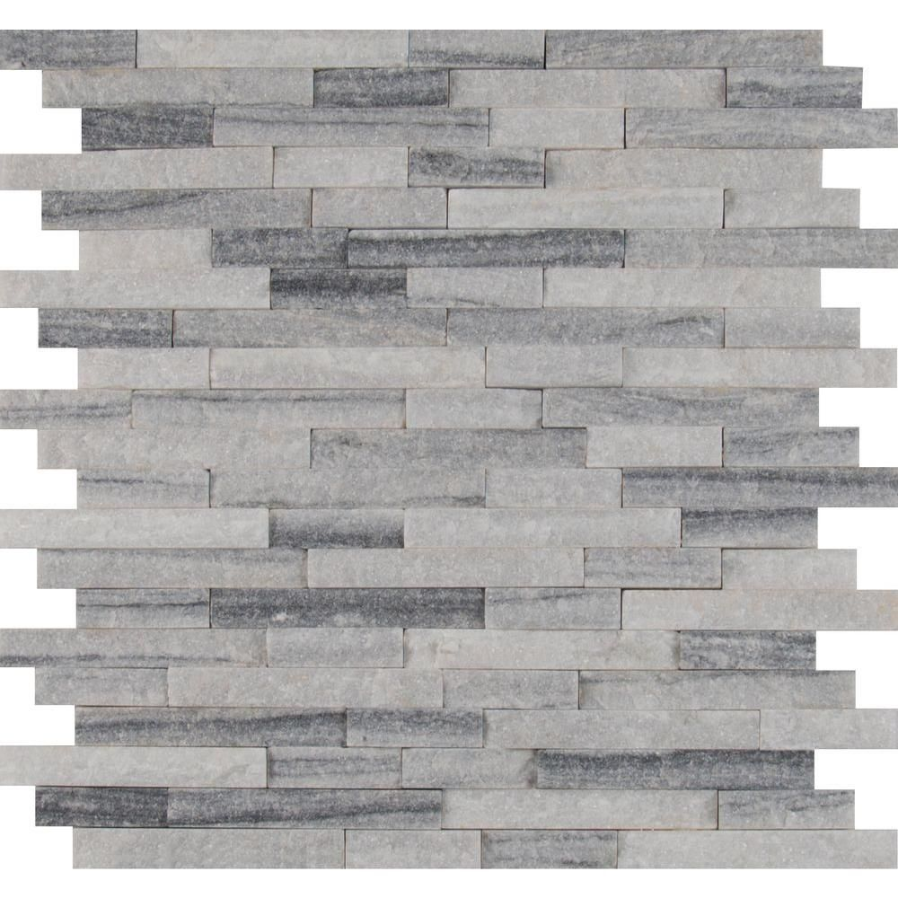 Null Alaska Gray Splitface 12 In X 10 Mm Marble Mesh Mounted Mosaic Tile Sq Ft Case