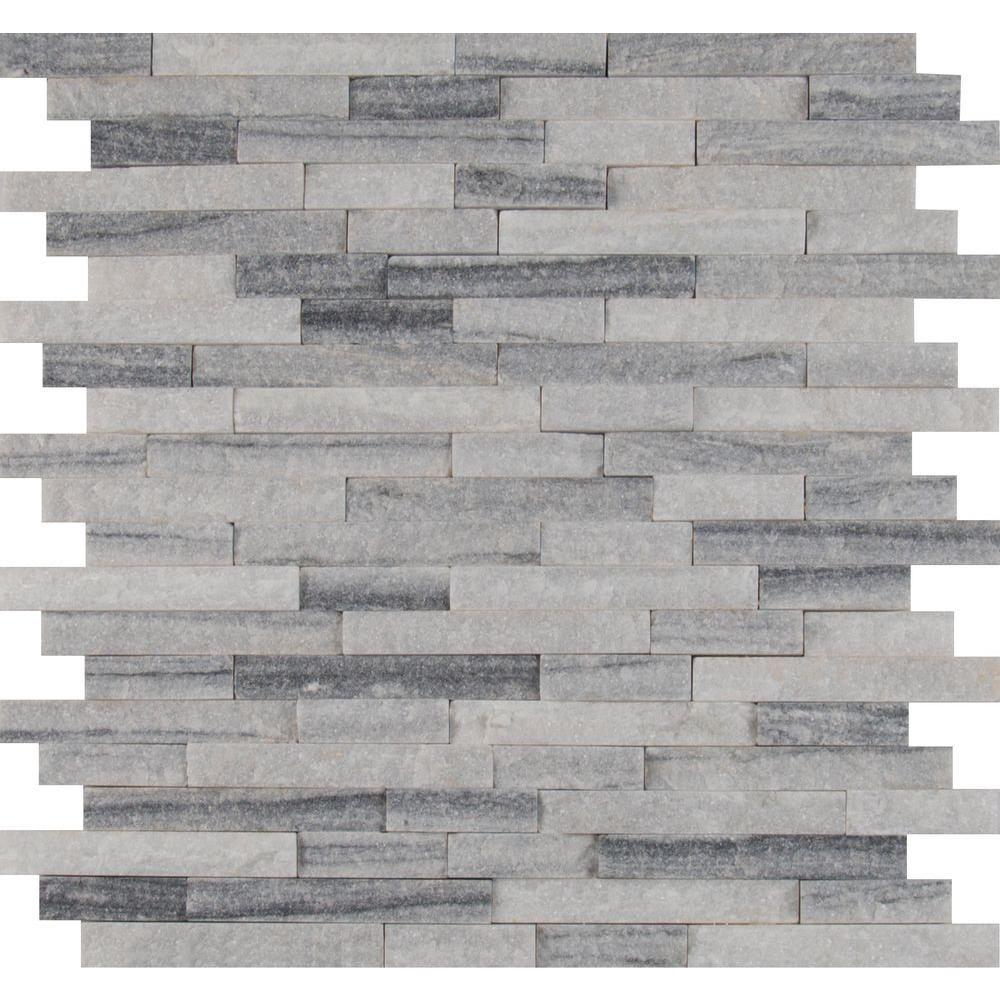 Null Alaska Grey Splitface 12 In X 10 Mm Marble Mesh Mounted Mosaic Wall Tile