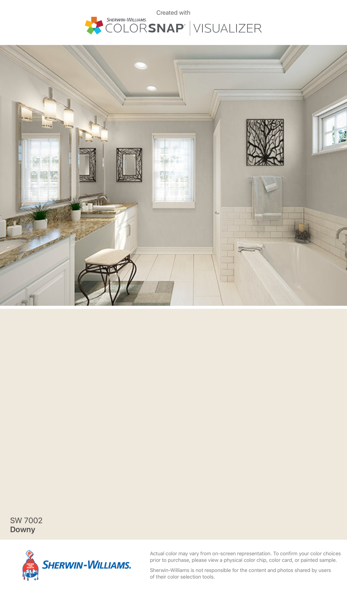 agreeable gray bathroom. Downy I found this color with ColorSnap  Visualizer for iPhone by Sherwin