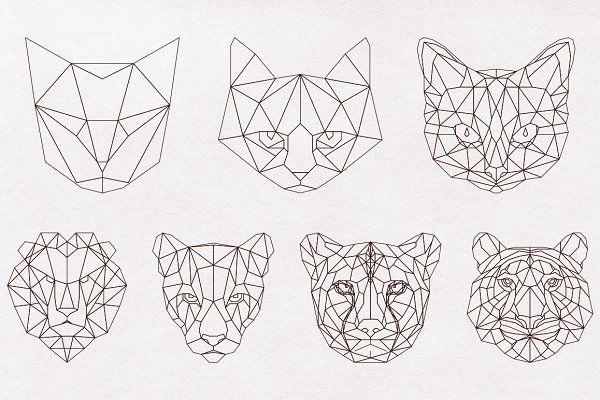 Big Cat Set Objects Hzlsvl Geometric Cat Big Cat Tattoo Tattoos