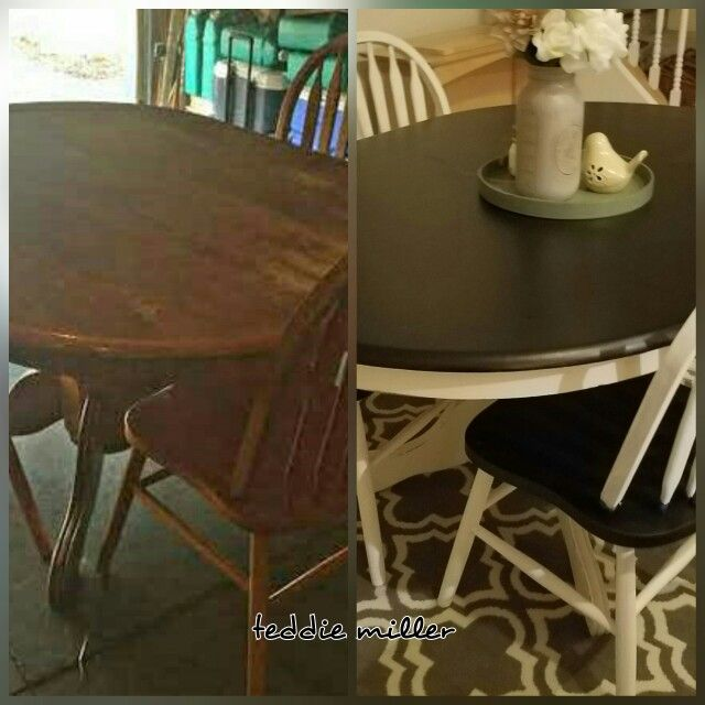 Finished my table and chairs!   Love it. My $30 find.  Top: Espresso by MinWax  Base: Waverly Chalk Paint Ivory
