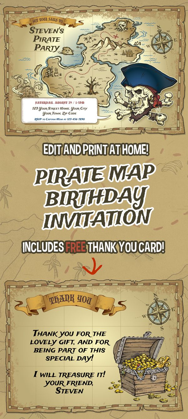 Pirate map birthday party printable invitation with free thank you pirate map birthday party printable invitation with free thank you card editable pdf files print at home filmwisefo