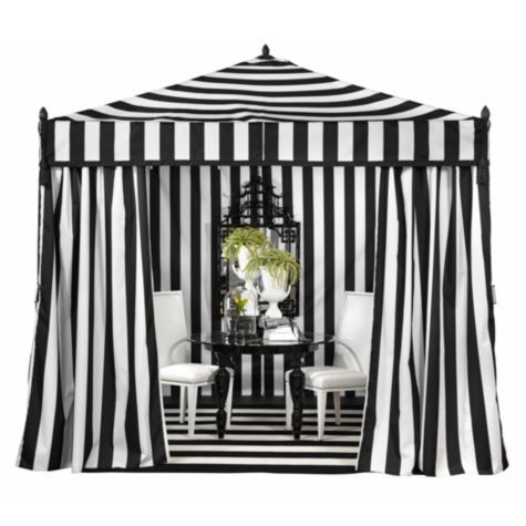 Z Gallerie Portofino Pavilion Elegant Outdoor Tent Black And White Cabana Stripe Walls Roof Floor Front Gathered D Shown With High Style