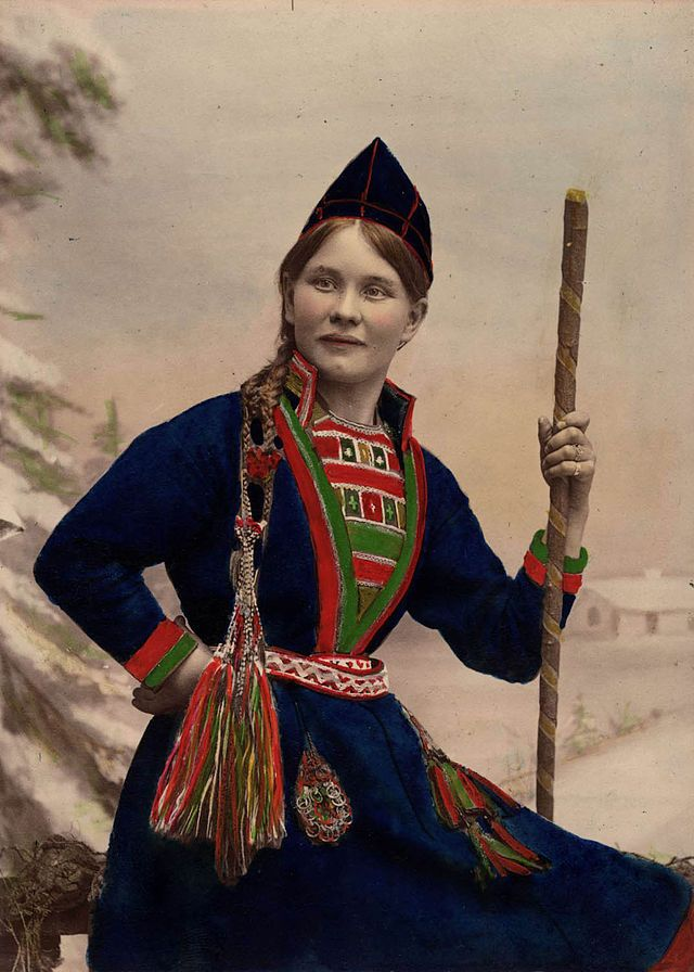 Sami Woman From Sweden 1870 1898 Traditional Outfits Folk Dresses Sami