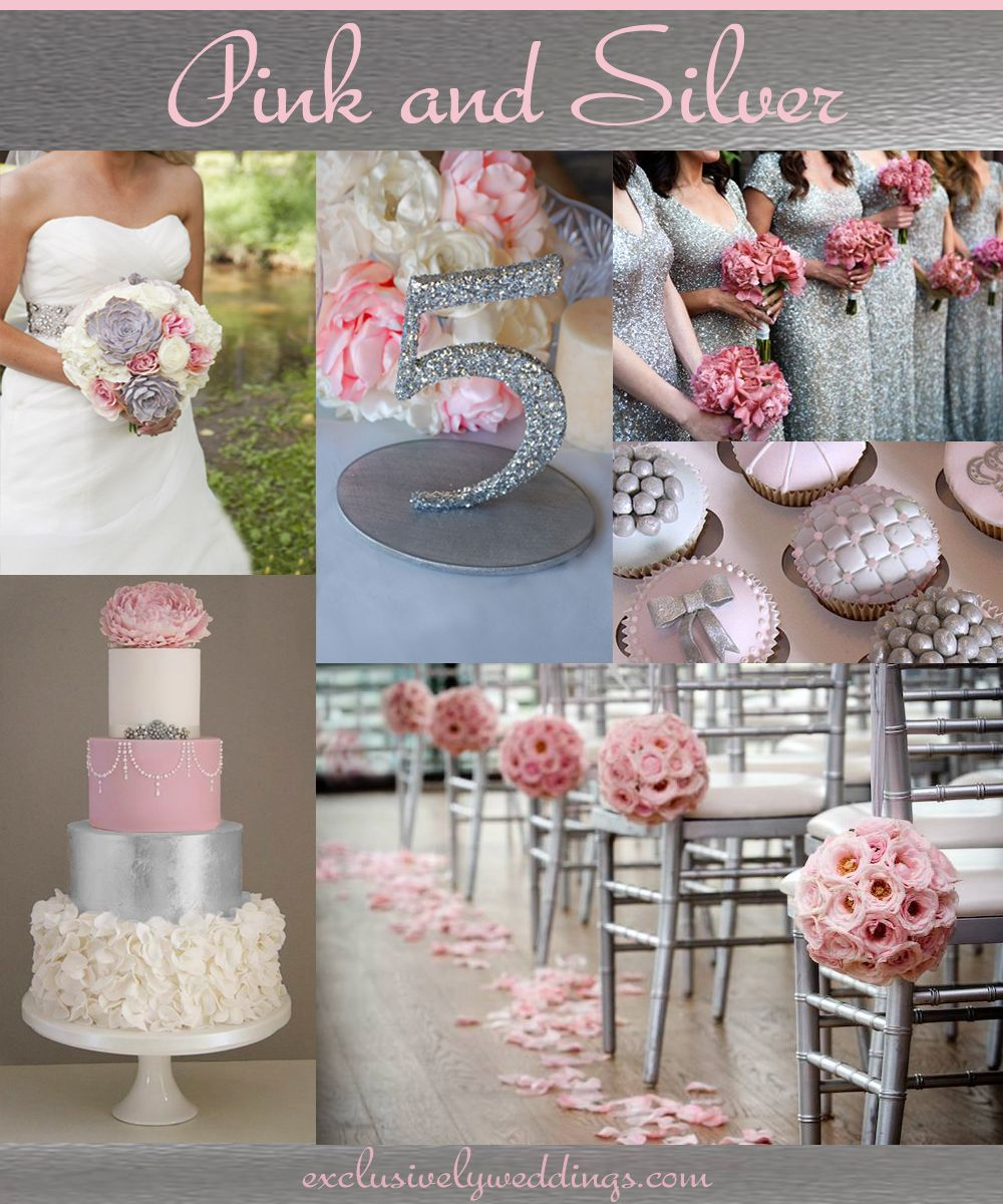 Exclusively Weddings Blog Wedding Planning Tips And More Silver Wedding Colours Pink Silver Weddings Silver Wedding Decorations