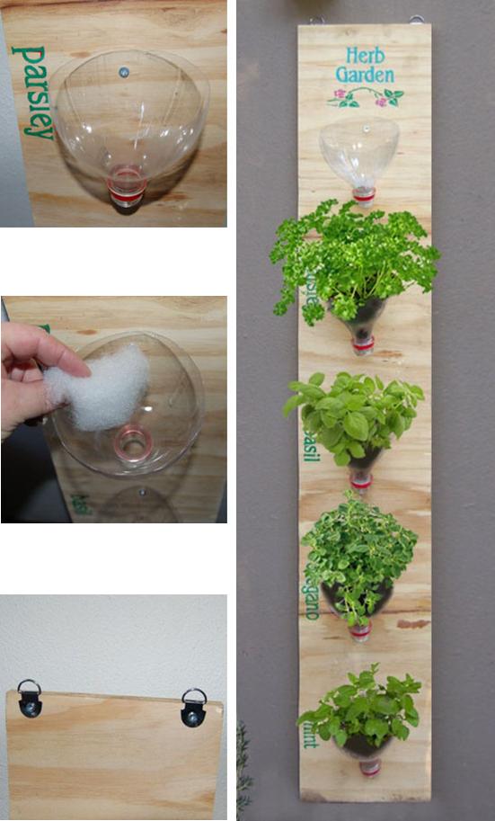 Plantar en cuellos de botellas pl sticas jard n vertical for Jardin vertical terraza