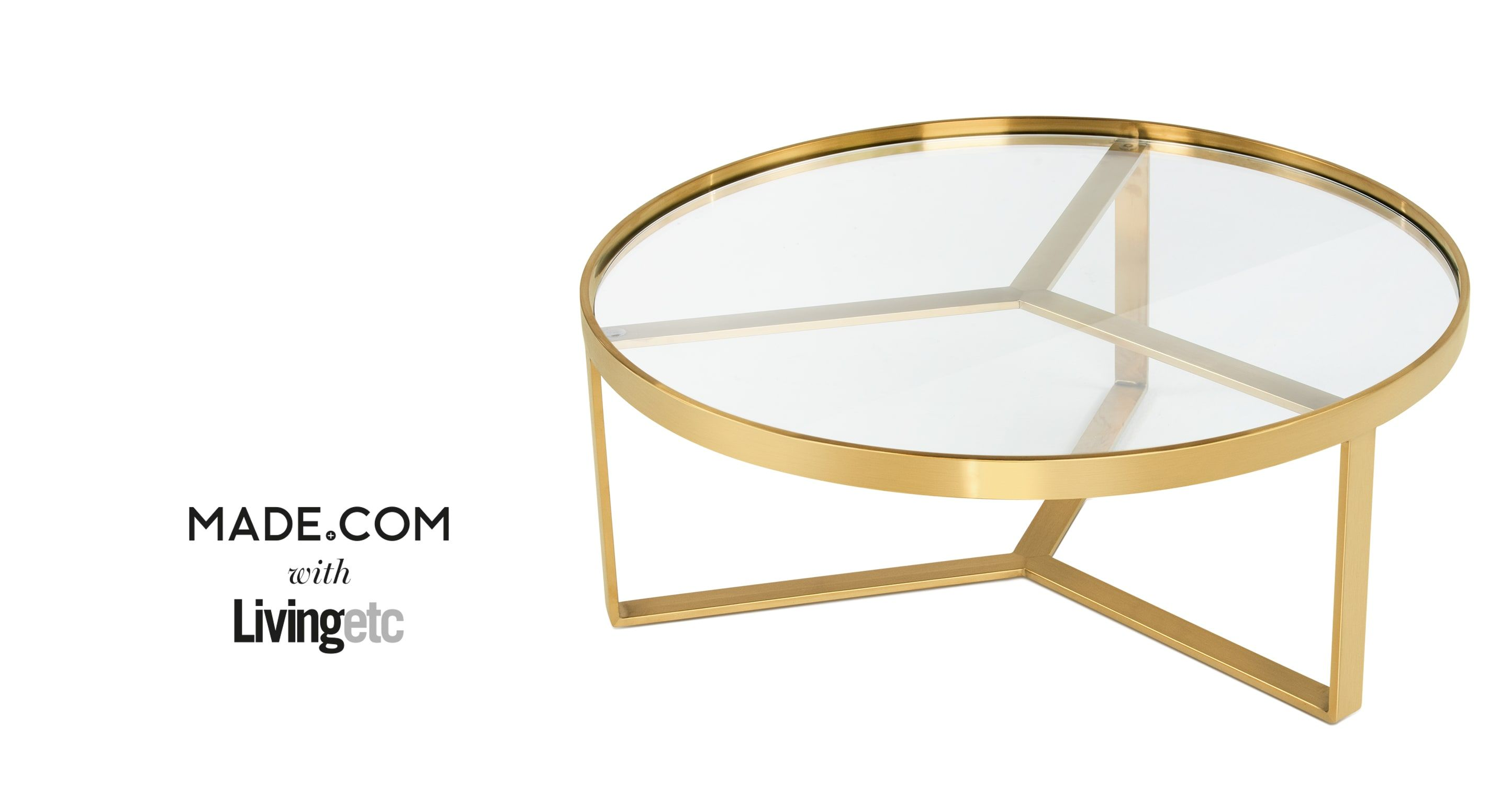 Aula Coffee Table Brushed Brass and Glass from Made