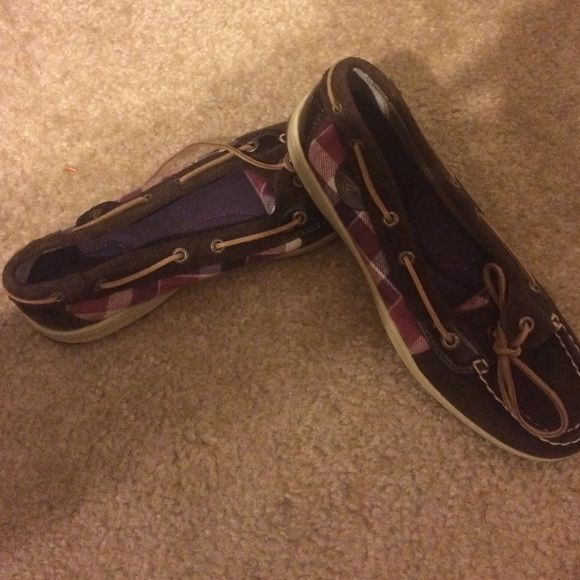 Sperry shoes Chocolate brown with pink, purple, and white plaid on sides, & short top. Never worn! Open to offers! Sperry Top-Sider Shoes