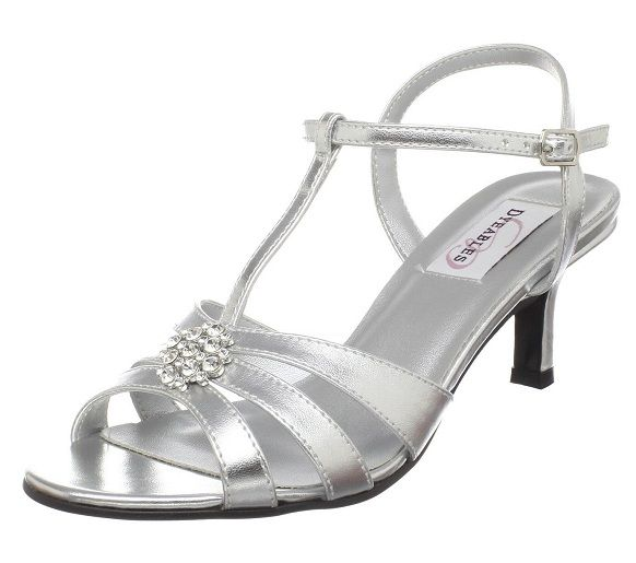 Comfortable Ankle Strap Chunky Heel Strappy Silver Wide Width Wedding Shoes For Women