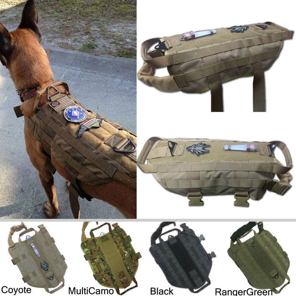 Tactical Dog K9 Training Molle Vest Harness 5 Sizes 9 Colors Option K9 Training Military Dogs Molle Vest