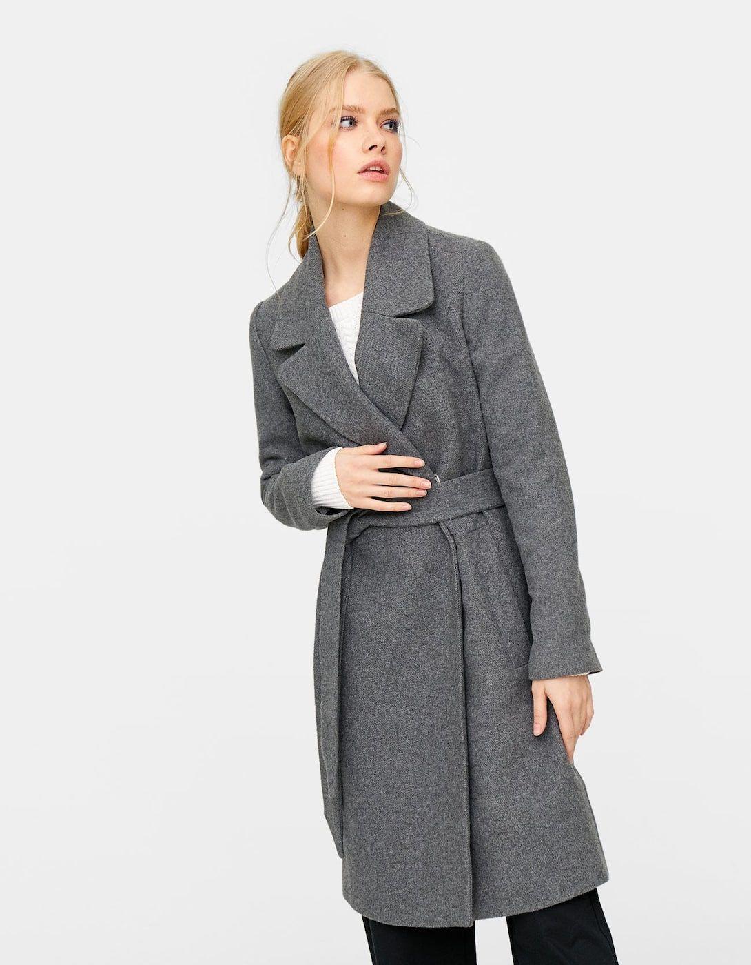 Flauszowy płaszcz z paskiem Płaszcze i kurtki