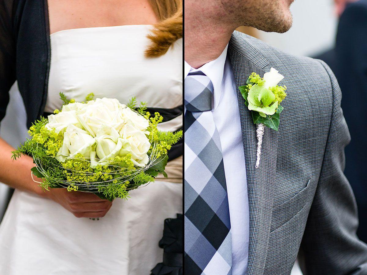 Klassische Farben Fur Die Standesamtliche Trauung Weisser Brautstrauss Und Weisser Anstecker Hochzeit Platzkarten Hochzeit Standesamtliche Trauung