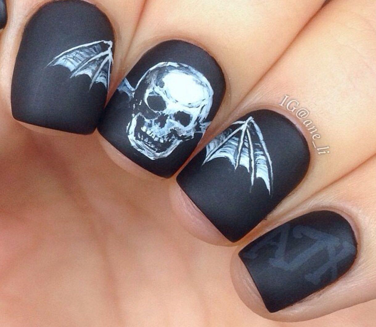 Avenged sevenfold nails | Skull nails, Punk nails, Skull ...