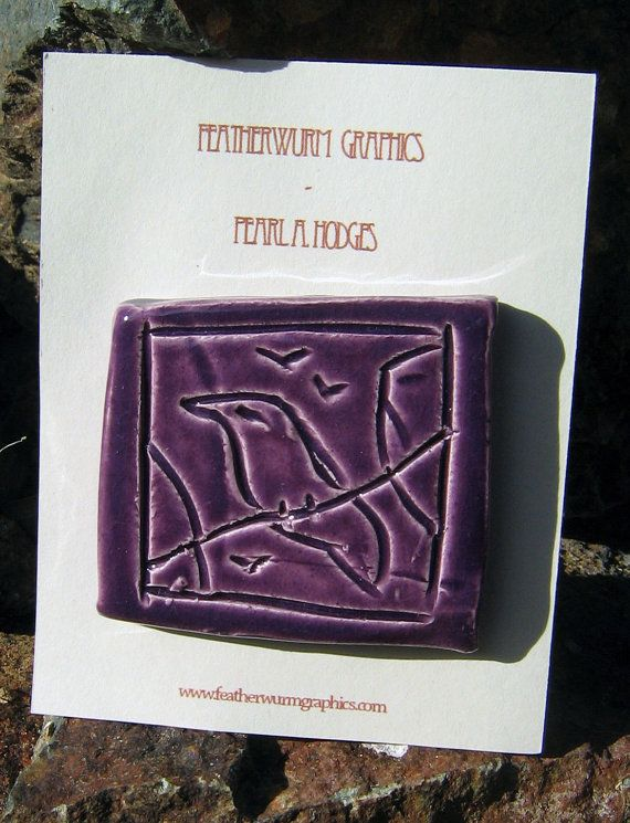 Smal Handmade Ceramic Tile - Purple Birds on a Wire