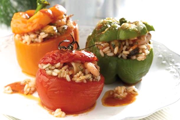 Gemista Recipe Greek Stuffed Tomatoes And Peppers With Rice Recipe Greek Dishes Stuffed Peppers Food Recipes