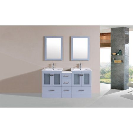 60 inch Hermosa Gray Double Modern Bathroom Vanity with Side Cabinet and Integrated Sinks