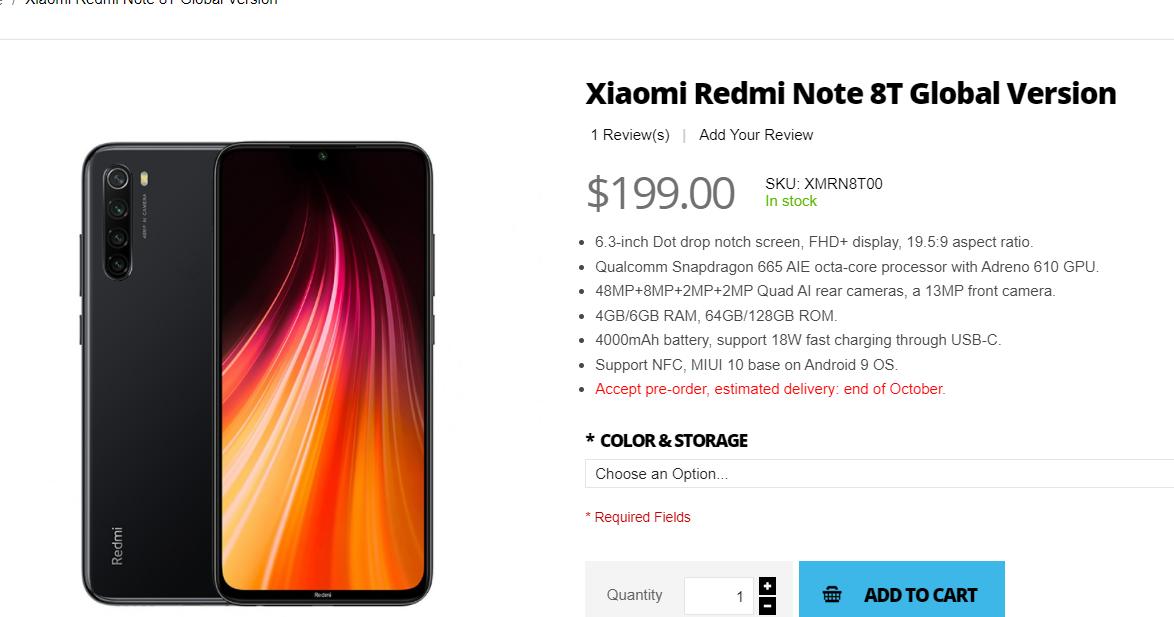 بينما ننتظر الإطلاق الرسمي لـ Redmi Note 8t المشاع فإن Giztop قد أدرج الهاتف بالفعل لطلب مسبق على موقعه على الويب الأمر الأكثر إثارة للاهتم Xiaomi Phone 64gb