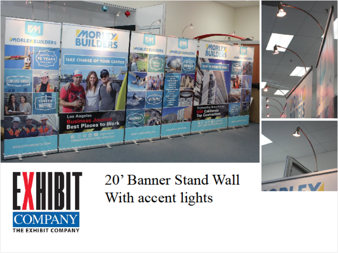 Check out this 20' banner stand wall. This is a great way to have versatility. This was a solution for our customer that needed to go from a 20', 10' and smaller spaces. It gives them the opportunity to change there space as they need to.
