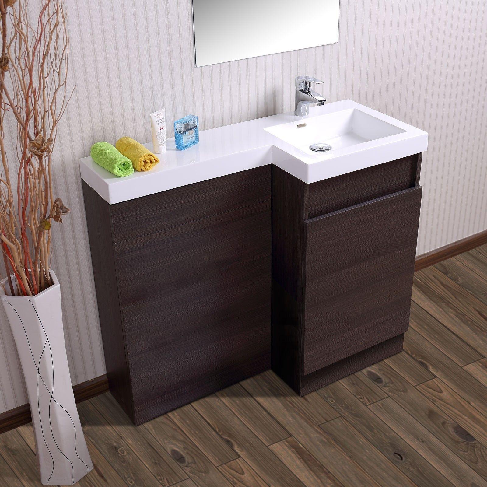 Aston Right Hand Dark Oak Bathroom White Basin Vanity Unit  # Muebles Vanitory