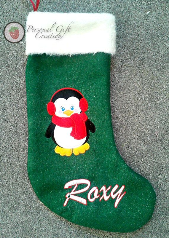 4dee588e10f Large Personalized Heirloom Christmas Stocking Applique cute Penguin Girl  by Personal Gift Creation
