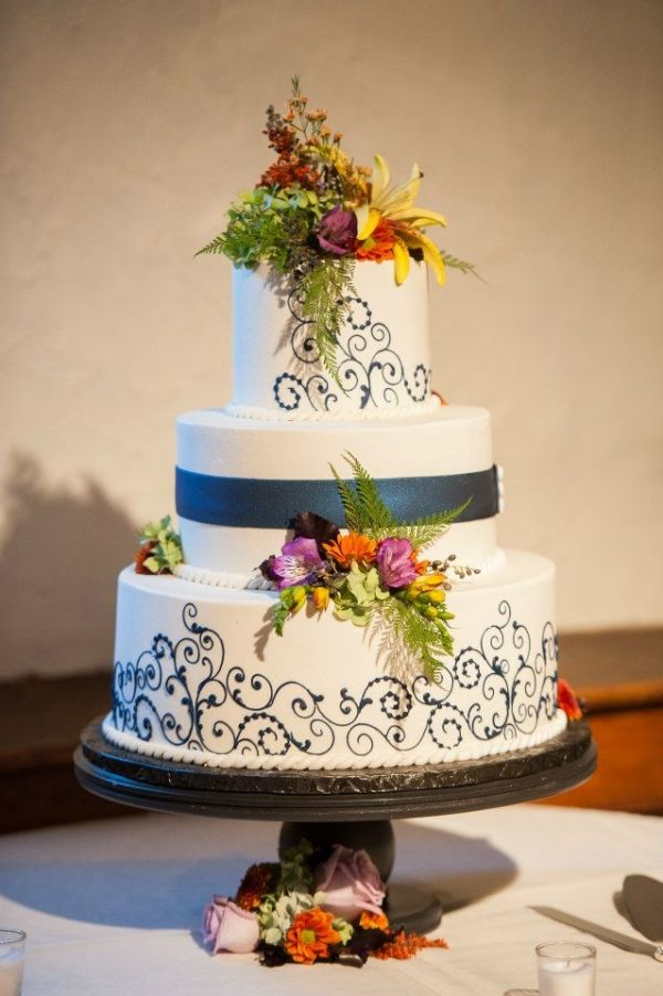 Lovely Ivory Fondant With Navy Blue Patterning And Fall Floral