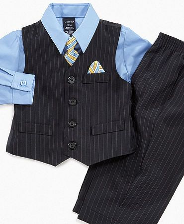 It's easy to dress him for any formal occasion with this three-piece baby suit set from Nautica. | Shirt: Cotton/polyester; pants: polyster/other; vest: polyester/other; vest lining: polyester | Machi