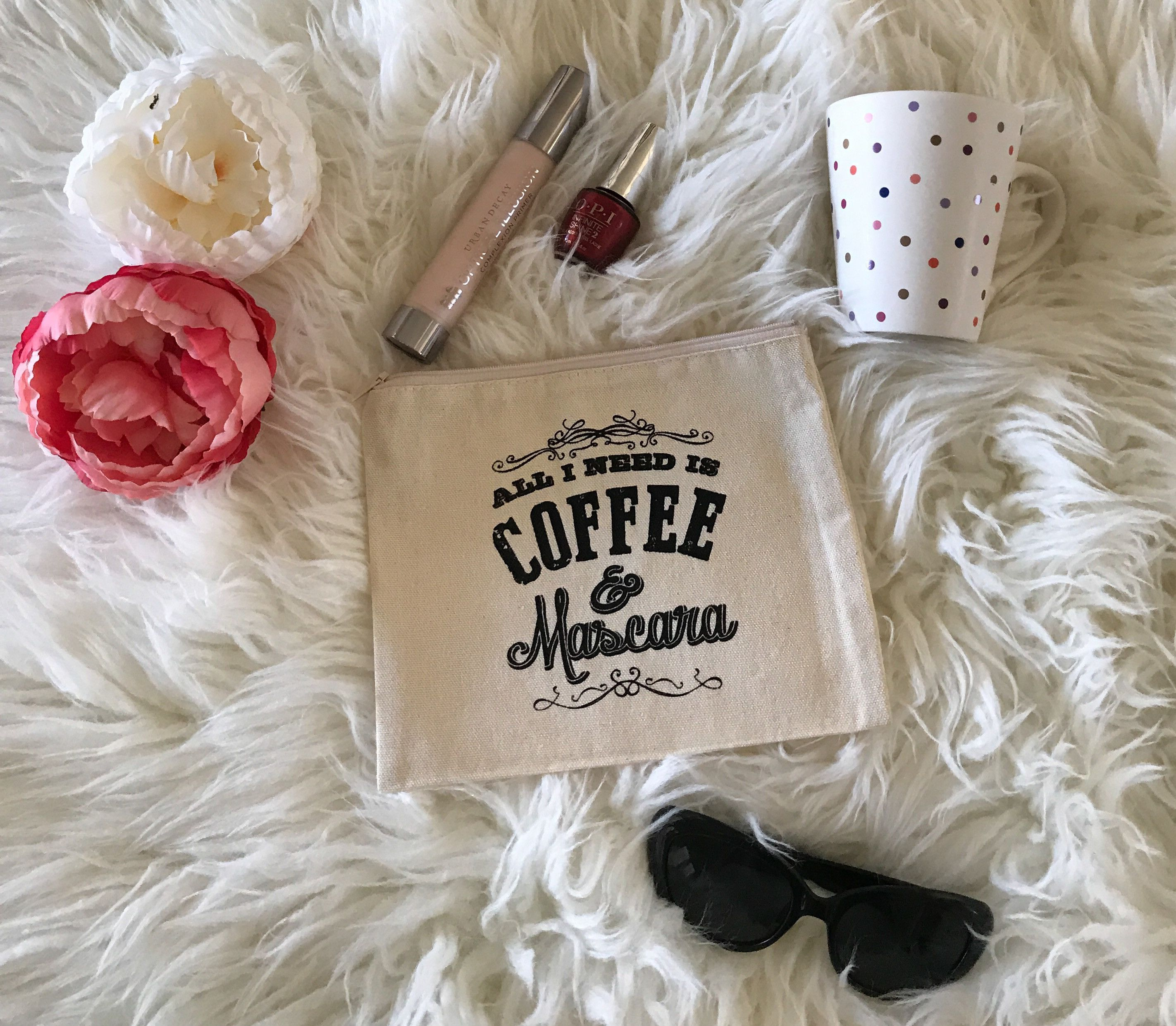 Cotton Canvas All I Need Is Mascara & Coffee Quote
