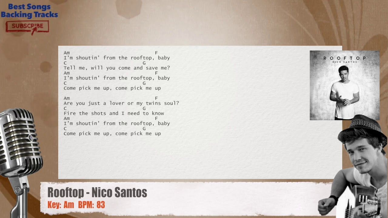 Rooftop Nico Santos Vocal Backing Track With Chords And Lyrics