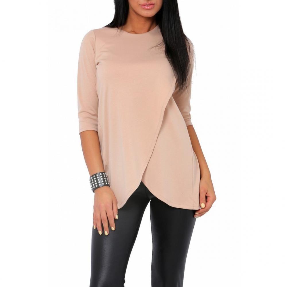 blusa asimétrica, de tamaño natural, de color beig del comercio al por mayor y importacion