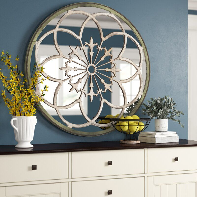 Flower Medalion Wood Wall Mirror & Reviews Birch Lane in