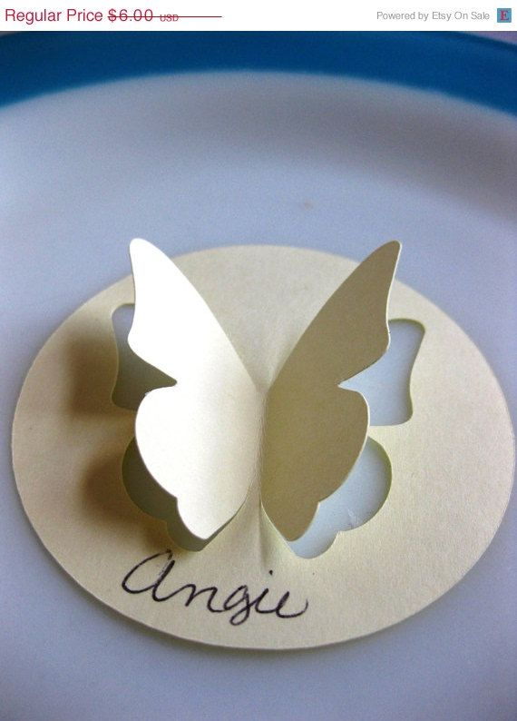 24 Very Vanilla Butterfly Place Card Cut Out Wedding Party 3 Inch