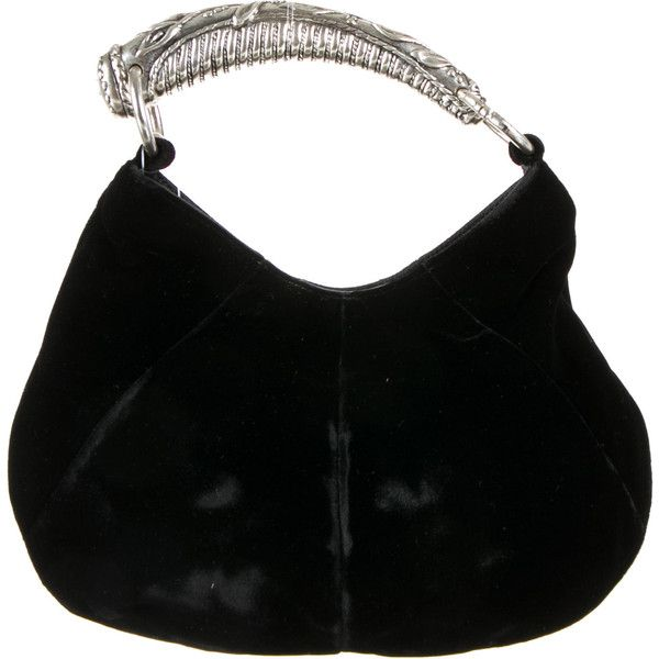 Pre-owned Yves Saint Laurent Velvet Mombasa Bag ($195) ❤ liked on Polyvore featuring bags, handbags, black, black velvet bag, pre owned bags, yves saint laurent purses, velvet handbag ve pre owned purses