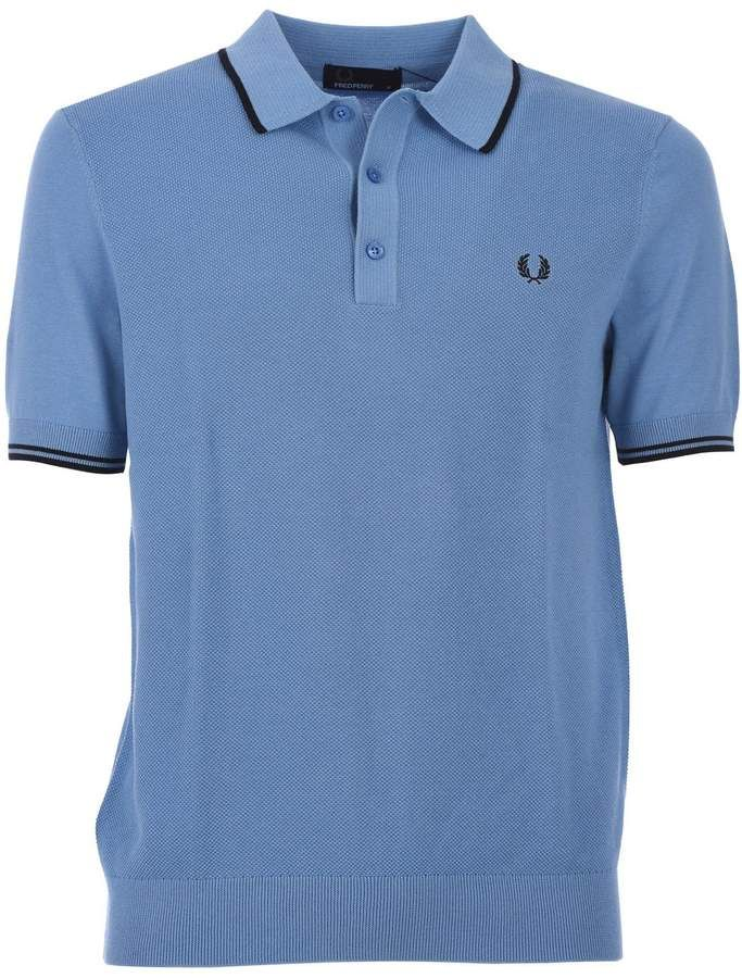 6d2ec4c1 Fred Perry Light Blue Tipped Knitted Shirt   Products in 2019