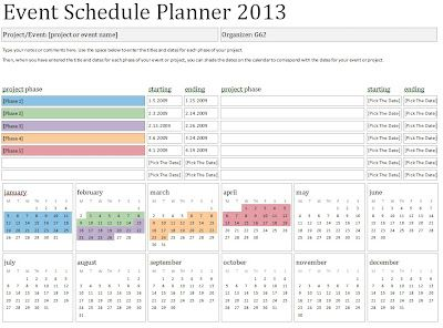 2013 event schedule planner template sample event planner