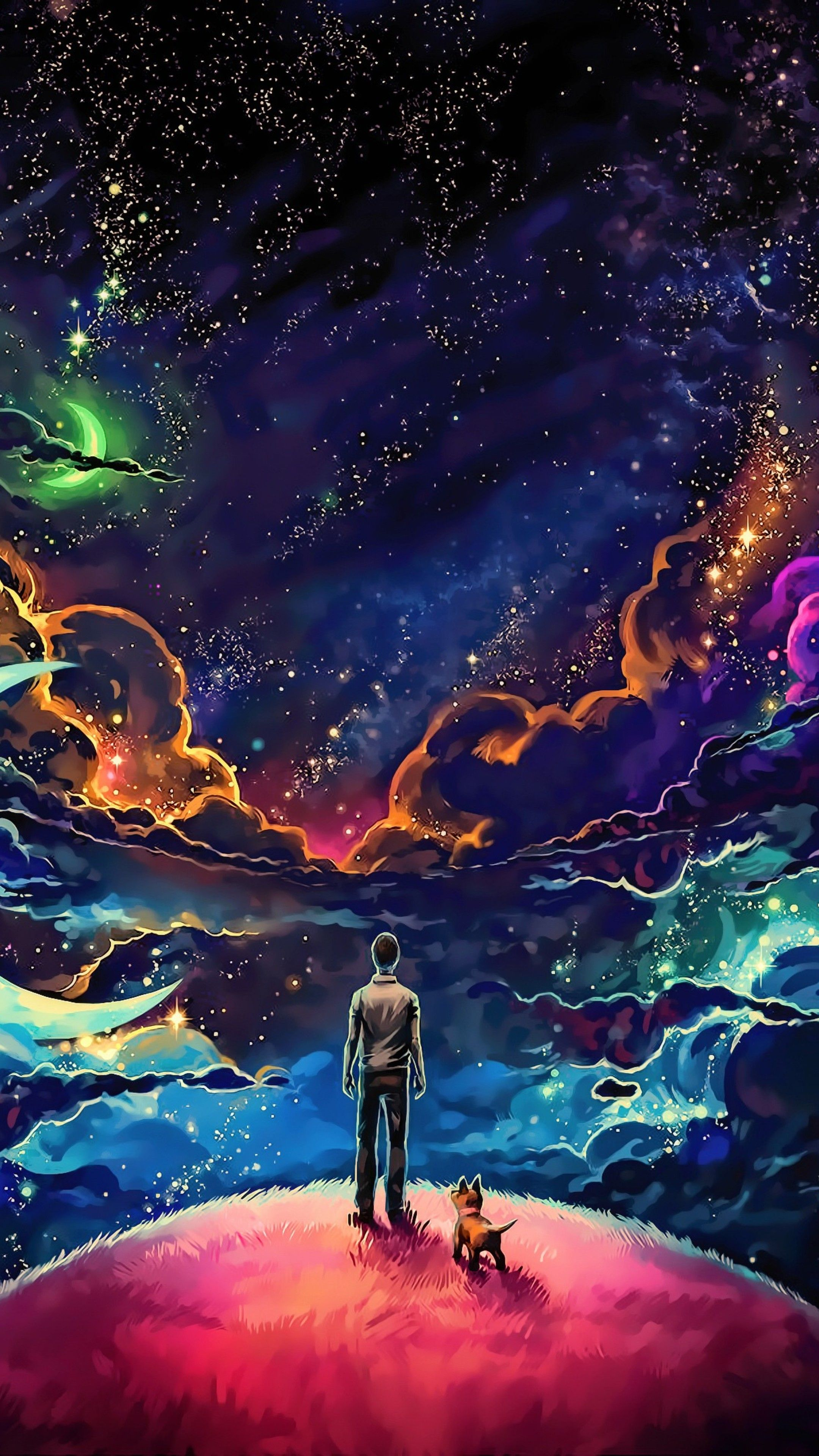 Misc Little Prince With Dog Colorful Science Fiction Fantasy Art Stars Artwork 4k Wallpapers Galaxy Wallpaper Man And Dog Galaxy Art