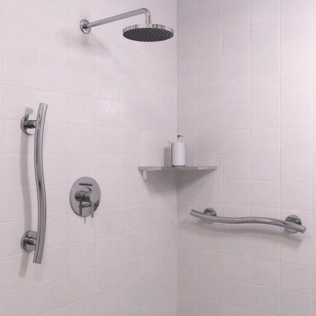 Wave Grab Bar Polished Chrome Shower