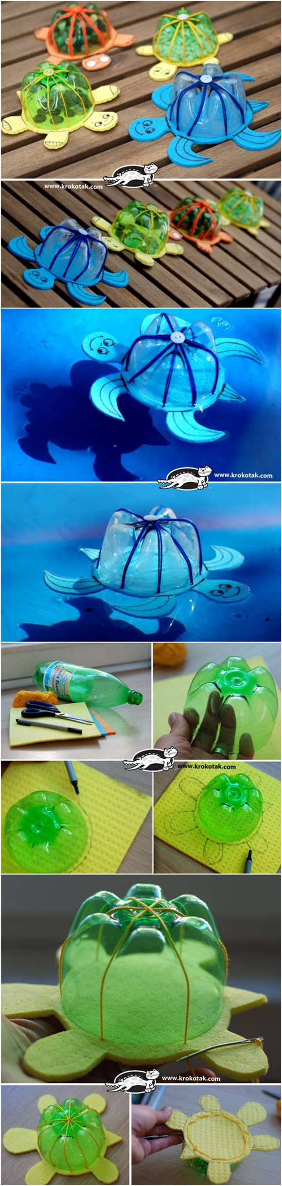 How to Make DIY Turtle Toys from Recycled Plastic Bottles #plasticbottleart