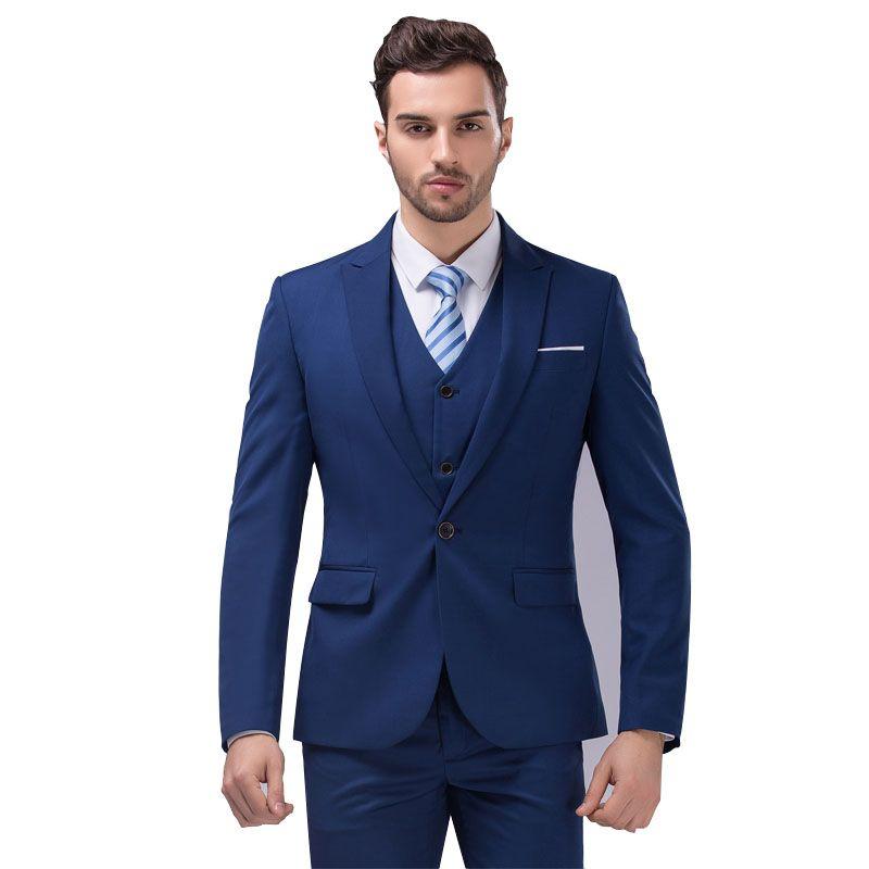 Jackets Vest Pants) New Men Korean Suits Slim Fit Tuxedo Brand ...