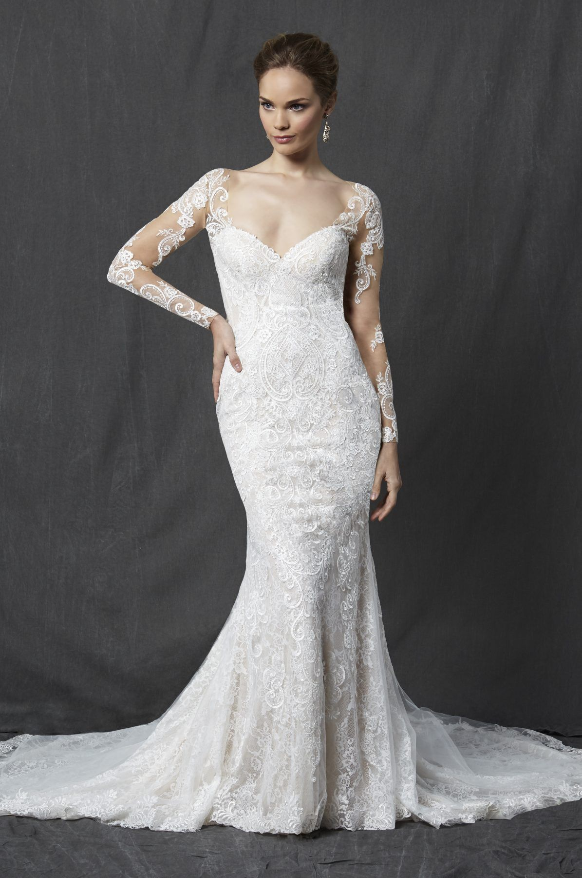 Long sleeve sweetheart full lace sheath wedding dress with illusion
