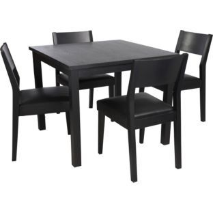 Buy Hygena Black Square Dining Table and 4 Chairs at Argos