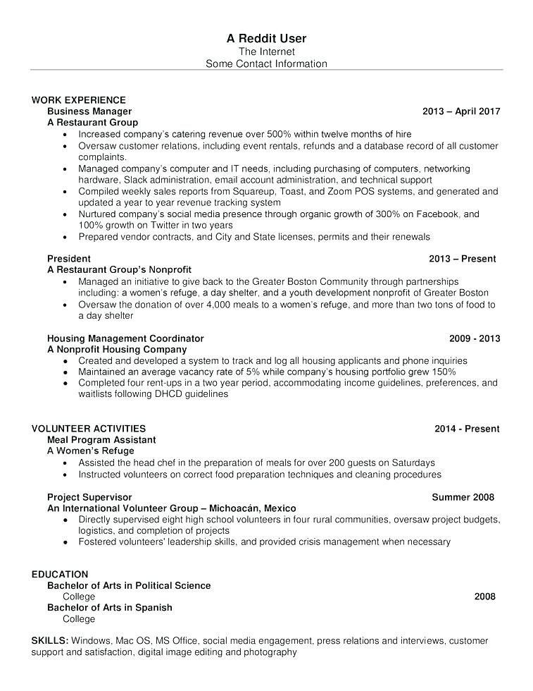 Resume Template Google Docs Reddit