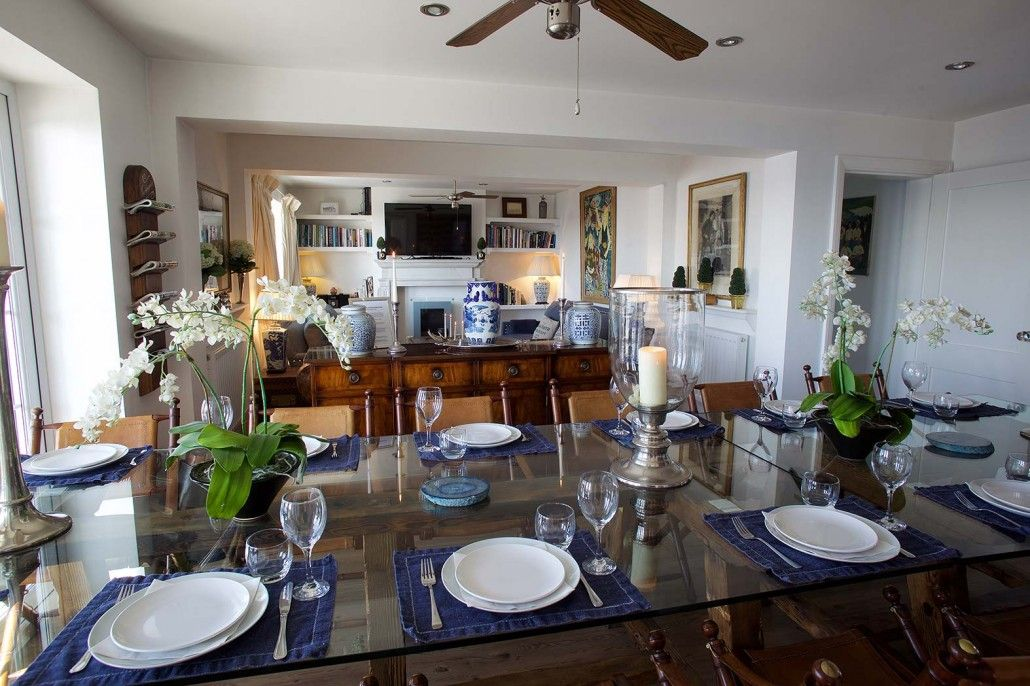 new england style dining room interior at new england beach house