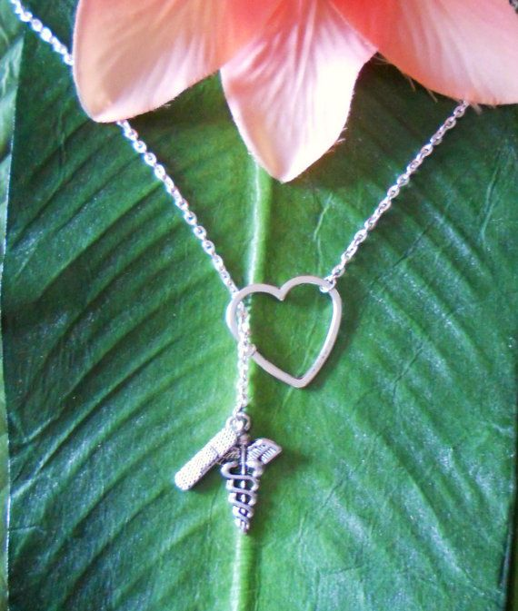 Silver Medical Nurse Doctor Necklace with Heart by melissawuest, $21.00