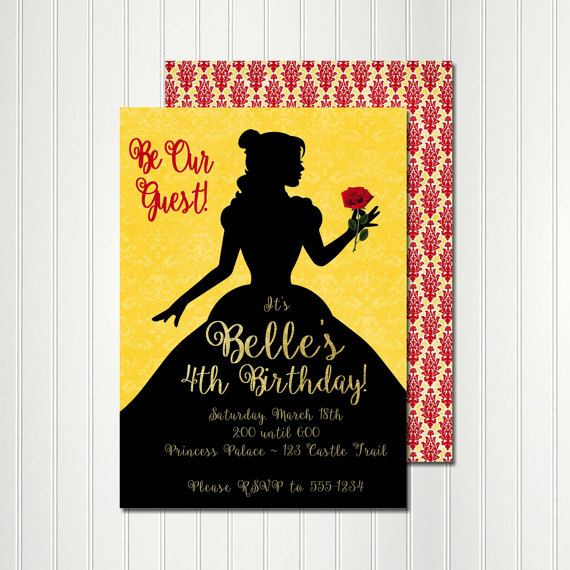 Belle Invitation Belle Silhouette Belle Birthday Belle Party – Beauty and the Beast Party Invitations